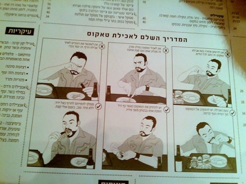 A big comic strip of how to eat a taco! That's cool.