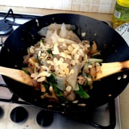 Stir-fry pork with Chinese greens, oyster mushrooms and almonds