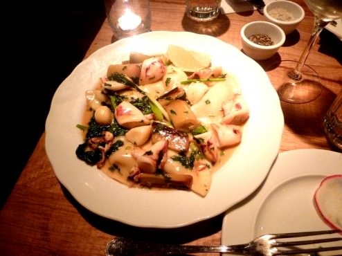 Jerusalem artichoke ravioli, calamari, green onions and leeks (92 NIS). This was definitely my favorite dish, one of the specials, the sauce made this dish heavenly, all thecomponentsmatched together and were cooked perfectly.
