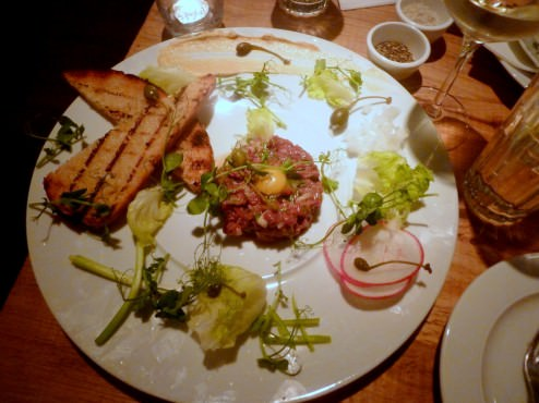 """Beef tartare """"Tutu Style"""" (92 NIS). This dish was excellent too, really hit the spot and beautiful on the plate."""