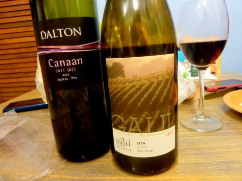 We had two bottles of wine with the carpaccio meal: Canaan, Dalton, Red, Galilee 2011. Which is not bad, light wine. The other was Alon, Galil, 2009, a fuller and more mature wine.