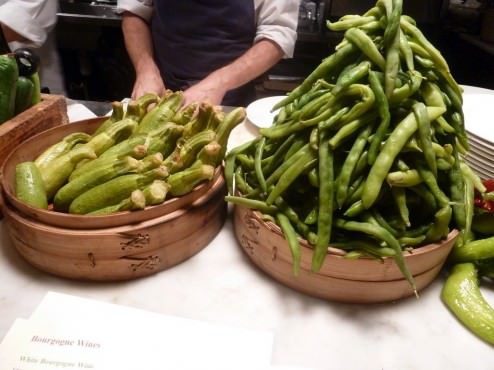 We were seated on the bar chairs in front of the kitchen. This is what we were facing, cooked zucchini and green beans.