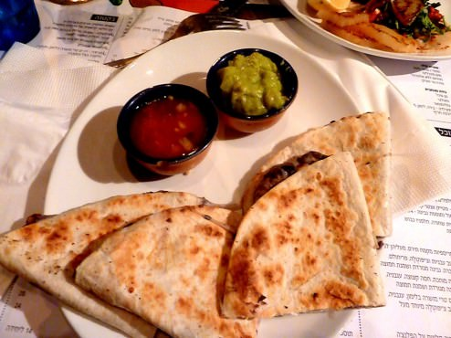 Quesadilla: two folded wheat flour tortillas toasted on the plancha with melted cheese and frijoles (24 NIS). These were the perfect little snack. So good.
