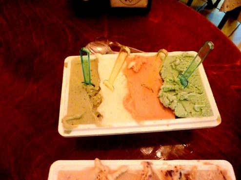 The other half was all the colorful flavors: pistachio, mint, mint-watermelon, white-chocolate amaretto.