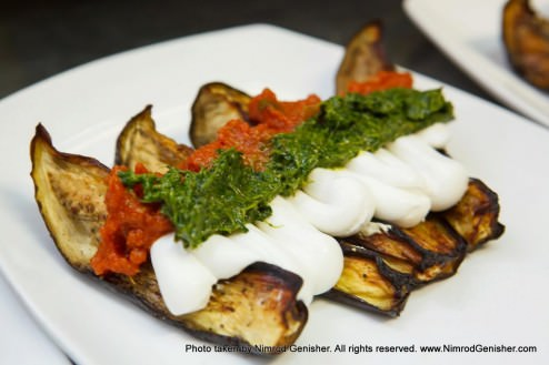 Roasted eggplant with tomato salsa, goat cheese and mint cilantro ...
