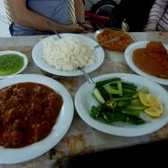 Table full of goodness together with the rice (20 NIS) and hot green sauce.