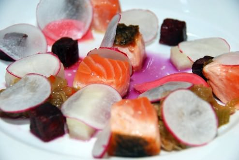 Winter candies: Fresh and pickled radish, turnips in butter, marmalade of fennel in Arak, roasted beets, salmon semi cooked, cabbage and ginger broth