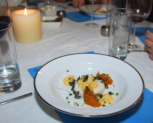 Chamomile panna cotta, five spices Hot - Cold butternut cream, candied pumpkin seeds