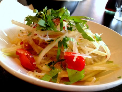 Papaya salad (adding 12 NIS to the main course price for a first course and bread). I didn't like this salad because it had vermicelli noodles inside and the sauce didn't balance the salad.