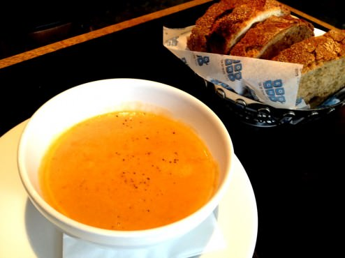 Crab bisque (+12 NIS for first course and bread), was excellent. Not as good as Rokach's bisque but a very smooth and tasty one with very strong flavor of crab. Loved the bread as well.
