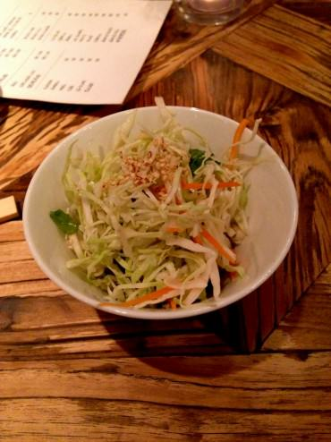 A little cabbage salad to begin with, almost came with a warning: if you don't finish it - you won't get any dessert.