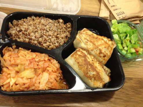 Meat blintzes, buckwheat, steamed cabbage and a small salad (20 NIS)