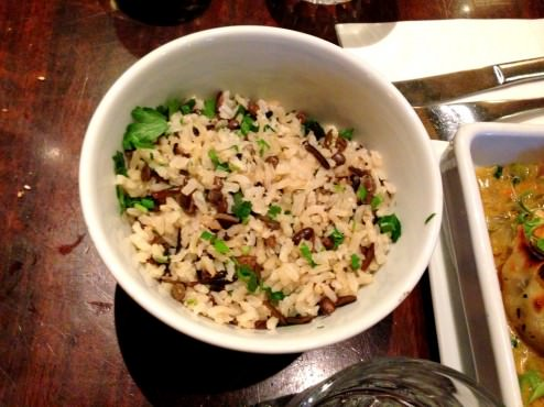 Side dish that came with the dumplings - wild rice. we poked on it a bit.