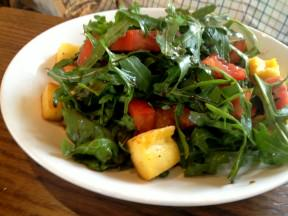 The Tomato and rocket salad with polenta