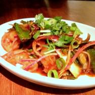 Yum-Kong: Shrimp salad with chili, lemon grass, shallots, mint, cilantro, Kfir lime, fish sauce and lemon (39 NIS).