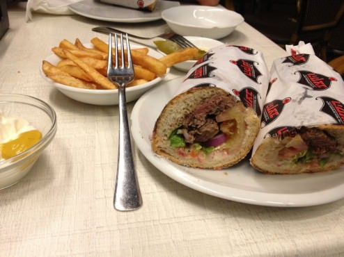 "Beef (Entrecote?!?!) kebab sandwich, ""house baked baguette"" doesn't taste as fresh as one can expect."
