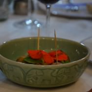 The Thai dish: Chicken ginger and coriander balls, green curry, lemongrass and coconut espuma, Capucine flower and leaf