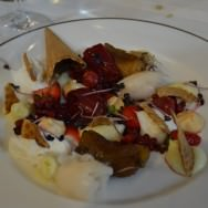 The French dessert: Crème Patissier, meringue, apple in butter and thyme, lychee and berries Sorbet, berries in syrup, whipped yogurt and waffle cone pieces