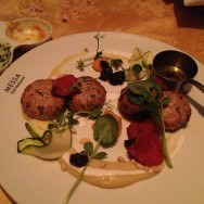 Fish kebab, eggplant cream, yogurt, pickled lemon and pine nuts (126 ILS). Beautiful dish but a bit of a disappointment.