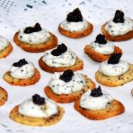 Butter-mustard salted cookies, tapenade, herbs whipped cream