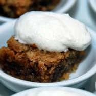 """Oats cookie """"Crack Pie"""", unsweetened whipped cream"""