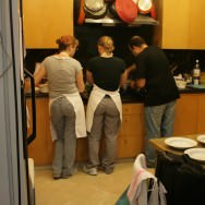 The three cooks in the kitchen