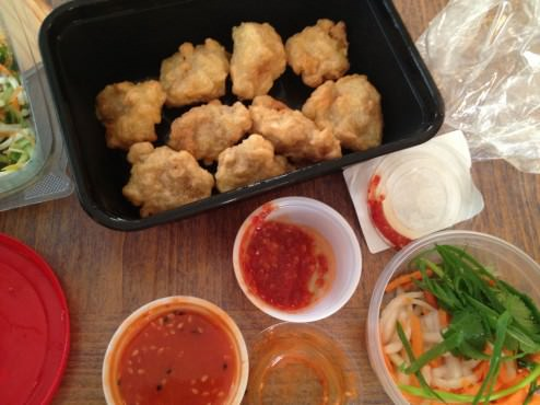 chicken nuggets with sweet and spicy sauce