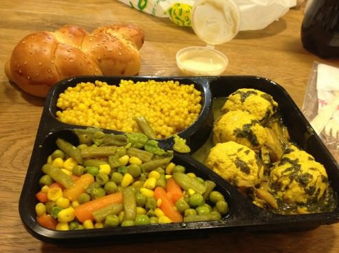 Chicken balls with champignon sauce, Israeli couscous and cooked vegetables with tahini, small salad and a bun (40 ILS)