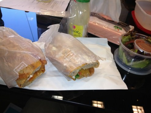 A sandwich in a fresh baguette with Shnitzel,mayo and vegetables. Came with a small salad and a lemonade (39 ILS).