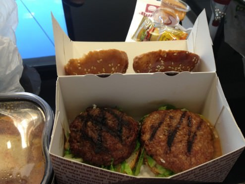 you get 2-3 little burgers. You can choose which type (beef, lamb..)