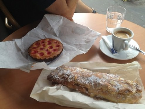 Tarte aux Cerises (Cherry Tart) which was great and a Croissant d'Amandes that disappointed.
