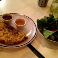Ban Casio: Vietnamese coconut milk, rice flour and cumin crepe filled with pork, shrimp and sprouts and served with a selection of leaves and chili pepper spicy-sour naam chok dip sauce and peanut sauce (38 ILS). Great version of this classic dish.