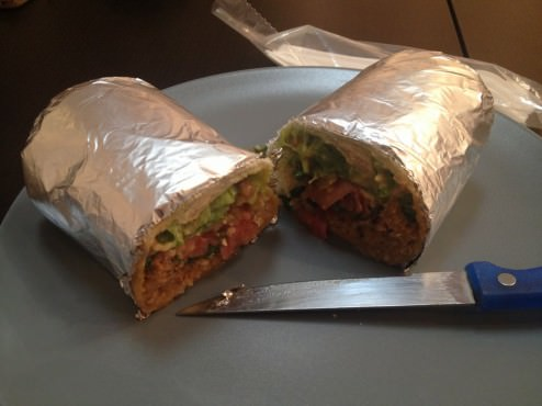The Burrito with pulled pork and everything but corn inside (38 ILS). I like my Mexican food spicy.