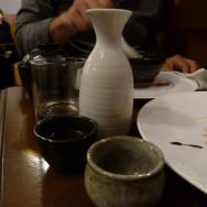 The third saké - a hot flask poured to clay cups. Without noticing we got pretty drunk.