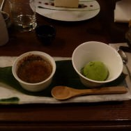 Black Sesame Crème Brûlée and Green Tea Ice-Cream.