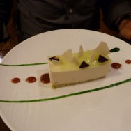 Jasmine and white chocolate Tea Cheesecake with salted caramel and green tea syrup.