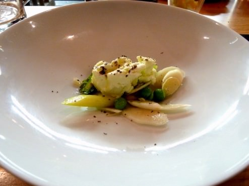 Green and white asparagus slightly blanched and some of it raw with fresh peas, olive oil and asparagus Ice Cream. Wow.