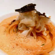 "Linguine, Grilled Squid ""Pasta"", Thai bouillabaisse and Nori seaweed. Another excellent fusion dish."