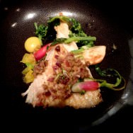 Skate, mini turnip, olives, citrus condiment, radish and cabbage.