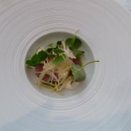 Raw Smoked White Mackerel, Smoked Haddock Panna Cotta, Scallions, Wood Sorrel, Chives, Green Oil. Creaminess that balances the fishiness.
