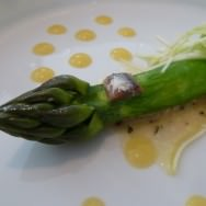 Cooked Green Asparagus, Raw Asparagus Salad, Anchovy Dressing, Salted Anchovy and Lemon Cream. Looks like a painting, isn't it?