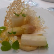 Egg Mimosa, Parmesan, Egg Crumbles, White Asparagus Cooked and Raw, Parmesan Tuile. French version of eggs.