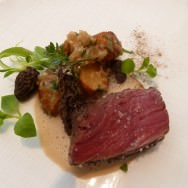 Filet of Beef, Morel, Potatoes and Cream of Beef Jus. A classica dish of meat with potatoes and jus.