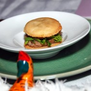 Goose confit and Rillette Macaron with rashad leaves