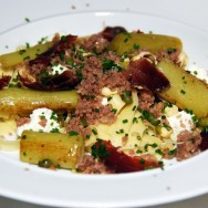 Fresh Pasta, Homemade Ricotta, Sprouted Beans, Buttered Leeks, Walnut-Parmesan Jam, Dehydrated Venison