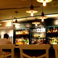 The decor and bar, very casual and warm