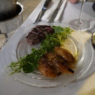 """Hanger steak and stuffed onions (51 ILS for the half portion). The onions were excellent and """"stole the show""""."""