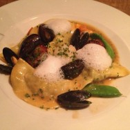 Seafood Ravioli: seared scallops, fresh mussels and crab bisque sauce (96 ILS)