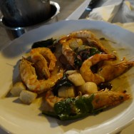 """Crystal shrimps, Jerusalem Artichokes and """"el Arze"""" Tahini (89 ILS). Whoever came up with this combination had a genius thought. I liked it!"""