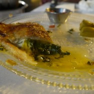 """Burekas with """"Tulum"""" cheese, Turkish spinach and egg yolk (54 ILS). The yolk just pouring like sauce."""